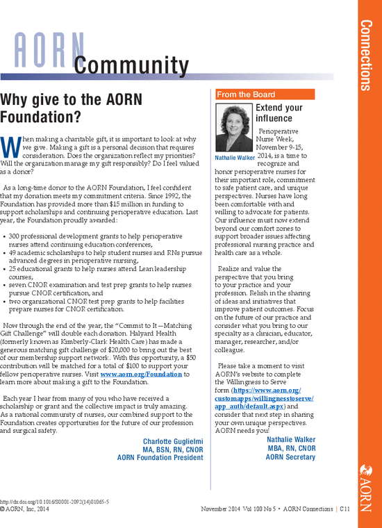 Community: Why give to the AORN Foundation? - AORN Journal