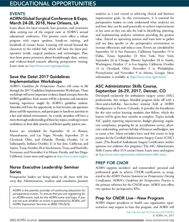 Educational Opportunities - AORN Journal