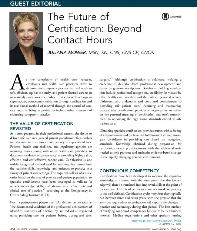 The Future Of Certification Beyond Contact Hours Aorn Journal